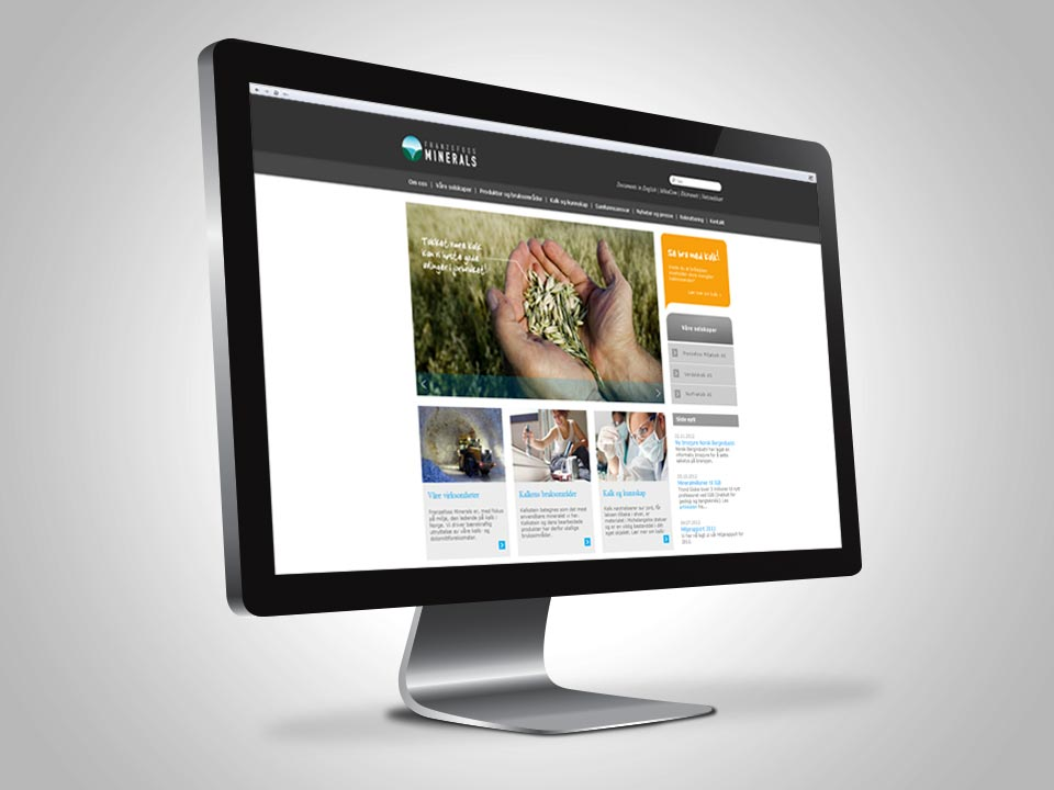 Webdesign av www.kalk.no for Franzefoss Minerals